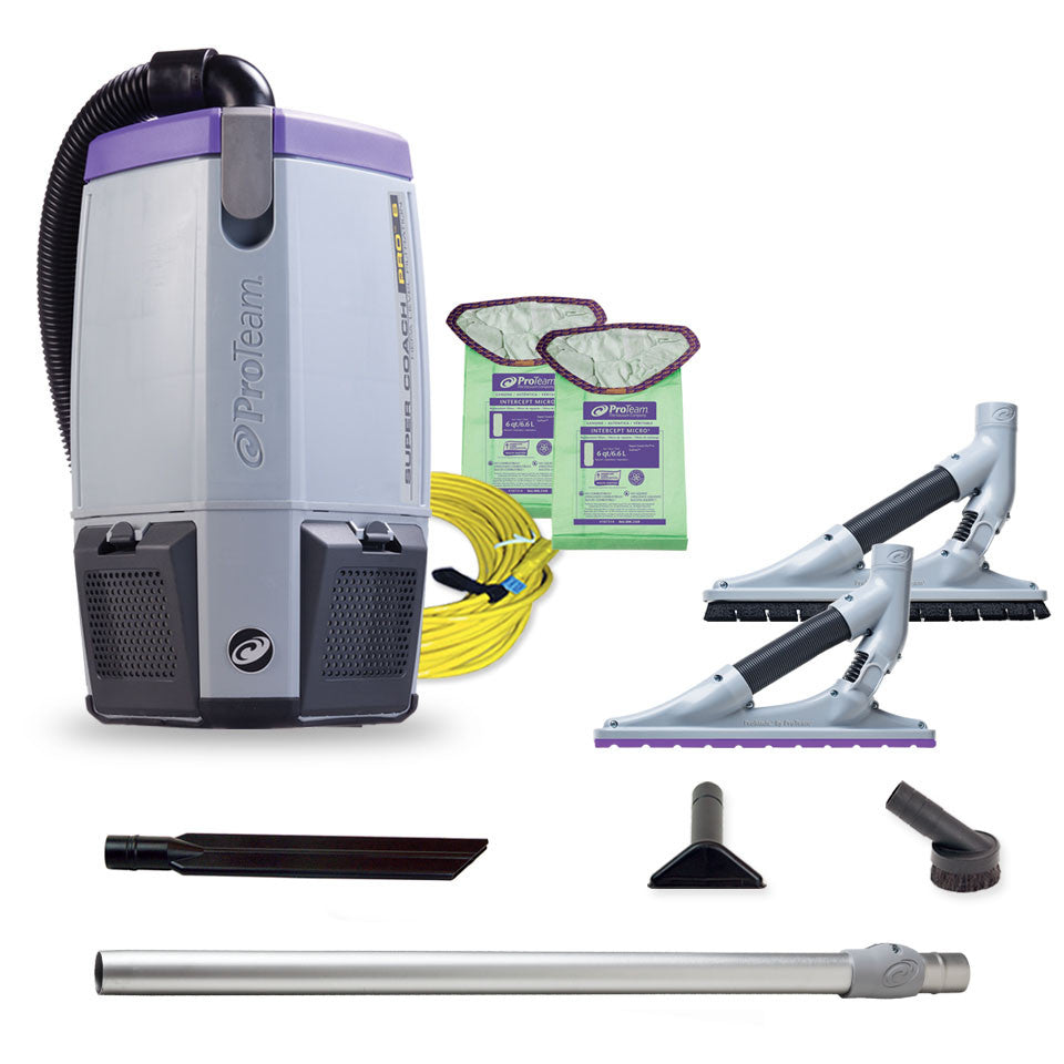 ProTeam 107535 Super Coach Pro 6 HEPA Backpack Vacuum W ProBlade Hard Surface Carpet Tool Kit 107532