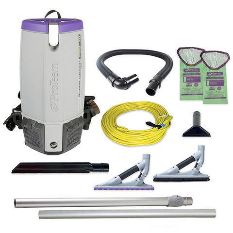 ProTeam 107538 Super Coach Pro 10 HEPA Backpack Vacuum w/ ProBlade Hard Surface & Carpet Tool Kit (107532)
