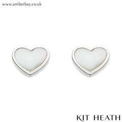 Silver Mother of Pearl Heart Studs at Amber Bay