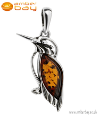 Silver and Amber Kingfisher Pendant
