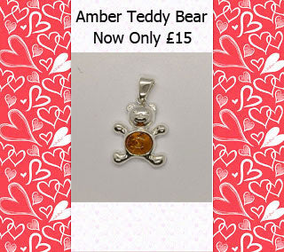 Sterling Silver and Cognac Amber Teddy Bear Pendant SALE