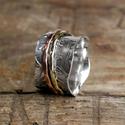 Sterling Silver Spinning Ring Amber Bay