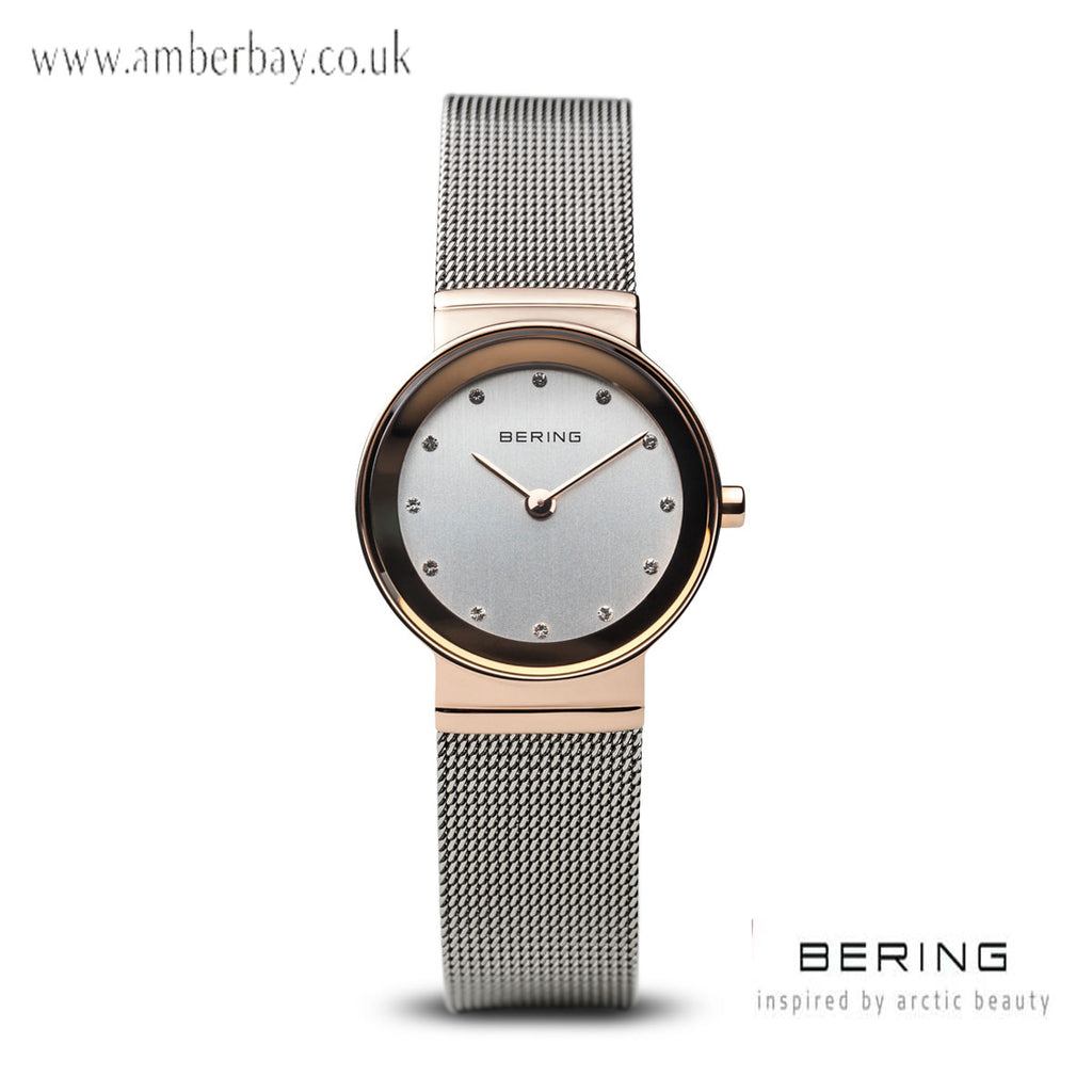 Bering Ladies Rose Gold Stainless Steel Crystal Dial Mesh Watch 10126-066