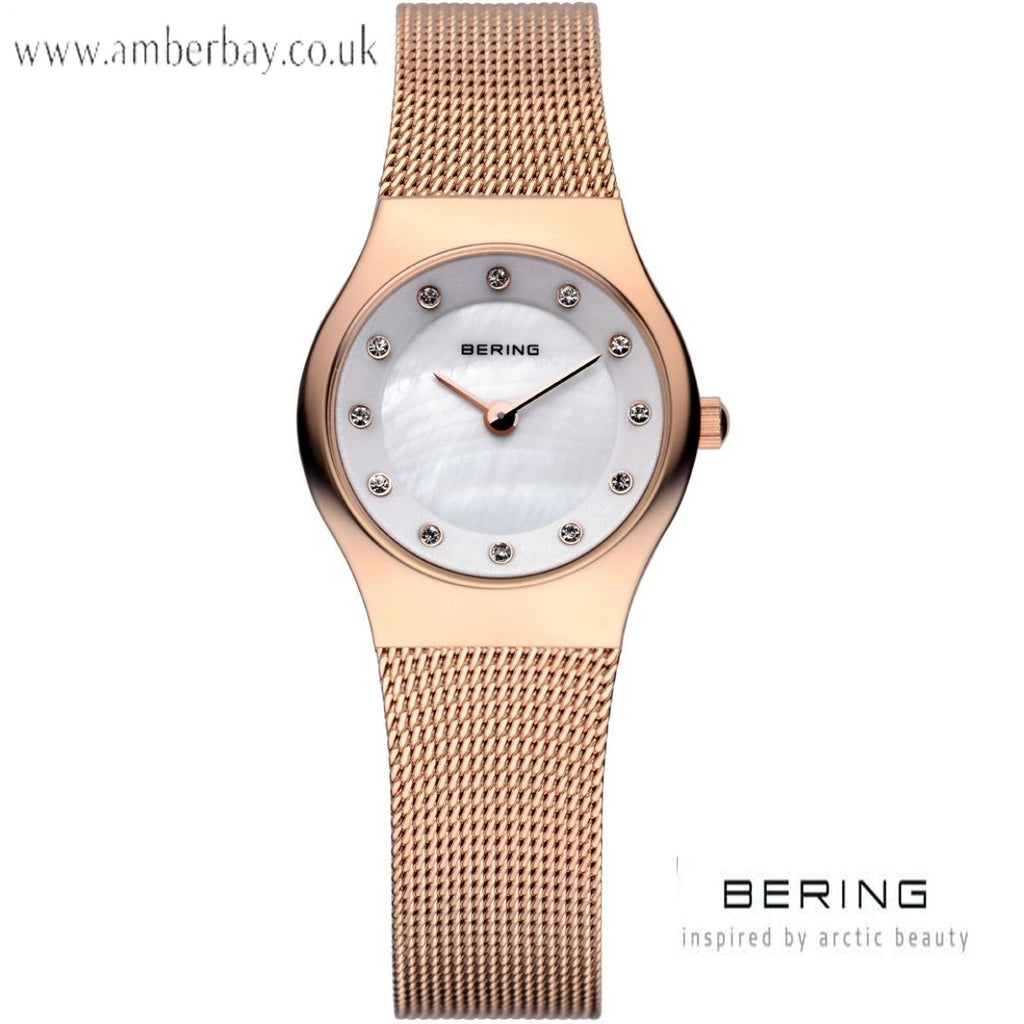 Bering Classic Ladies Rose Gold Stainless Steel Mesh Strap Crystal Dial Watch 11923-366