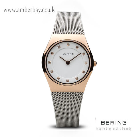 Bering Ladies Rose Gold Stainless Steel Mesh Crystal Dial Watch 11927-064