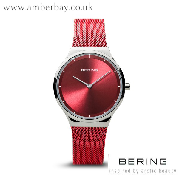 Bering Ladies Red Stainless Steel Watch 12131-303