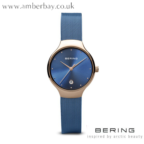 Bering Ladies Blue Milanese Strap Watch 13326-368