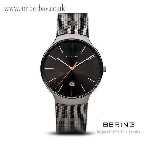 Bering Gents Multifunction Stainless Steel Mesh Watch 13338-077