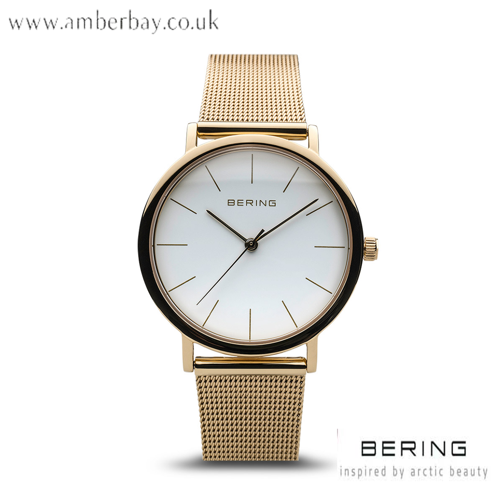 Bering Ladies Gold Stainless Steel Milanese Watch 13436-334