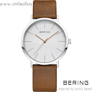 Bering Unisex Leather Strap Watch 13436-506