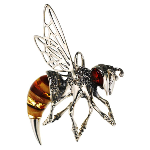 Sterling Silver and Amber Bee Pendant