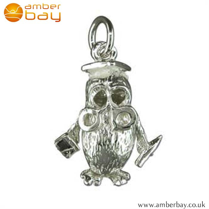 Sterling Silver Wise Graduation Owl Charm/Pendant 2575 at Amber Bay