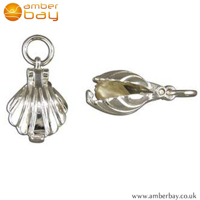 Sterling Silver Clam Shell with Pearl Charm/Pendant 2596 at Amber Bay