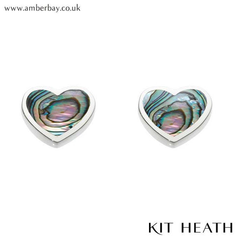 Silver Paua Shell Heart Studs 3062PA Kit Heath at Amber Bay