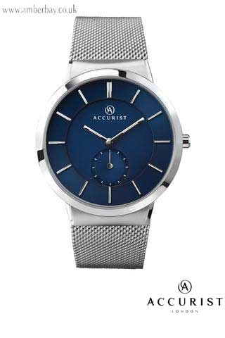 Accurist Gents Blue Dial Stainless Steel Milanese Watch 7014
