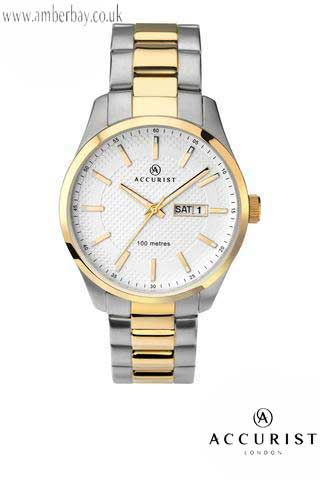 Accursit Gents Day Date Stainless Steel Watch 7057