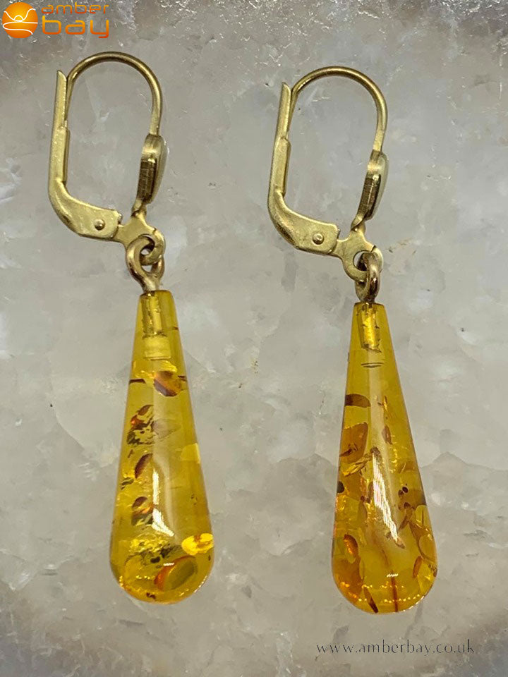 9ct Yellow Gold and Cognac Baltic Amber Drop Earrings