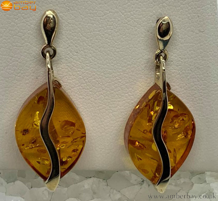 9ct Yellow Gold Cognac Baltic Amber Drop Earrings