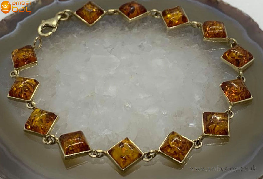 9ct Yellow Gold Cognac Baltic Amber Bracelet