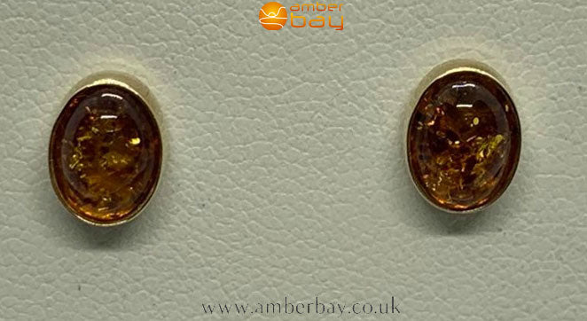 9ct Yellow Gold Cognac Baltic Amber Stud Earrings
