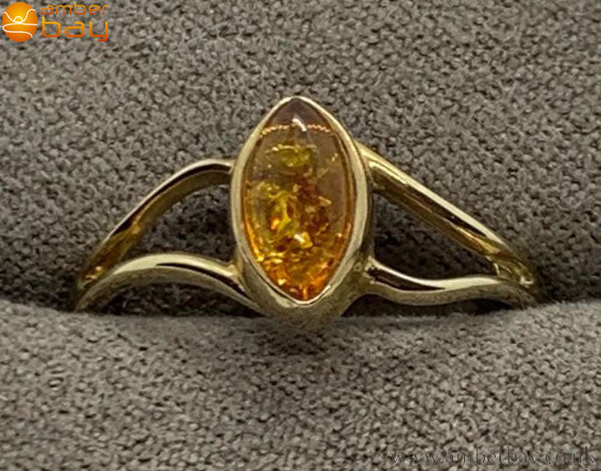 9ct Yellow Gold Cognac Baltic Amber Ring
