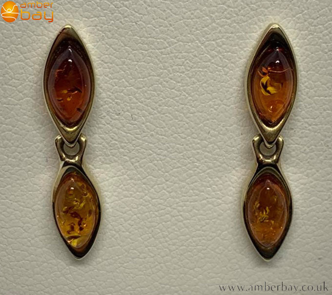 9ct Yellow Gold Cognac Baltic Amber Stud Drop Earrings