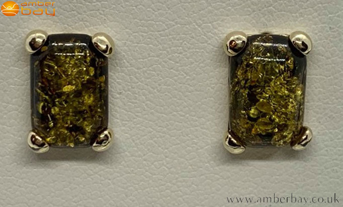 9ct Yellow Gold Green Baltic Amber Stud Earrings