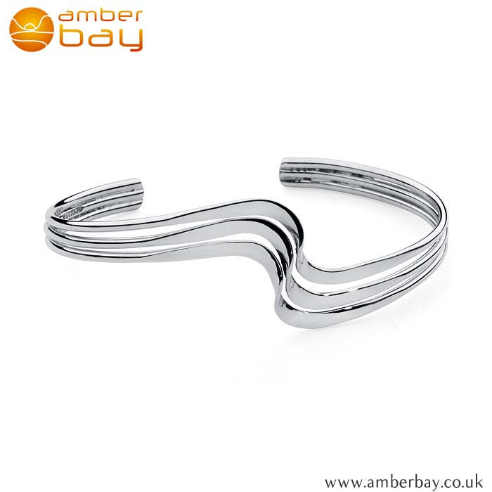 Silver Triple lined Torque Bangle AJ89 at Amber Bay