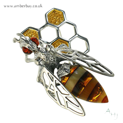 Silver and Amber Bee on Honeycomb Brooch