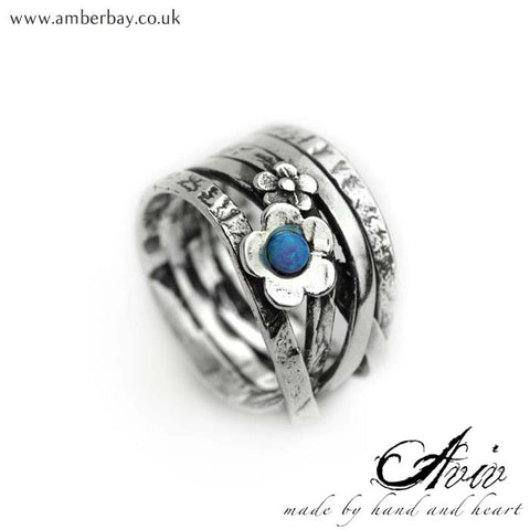 Aviv Sterling Silver and Opal Daisy Ring at Amber Bay