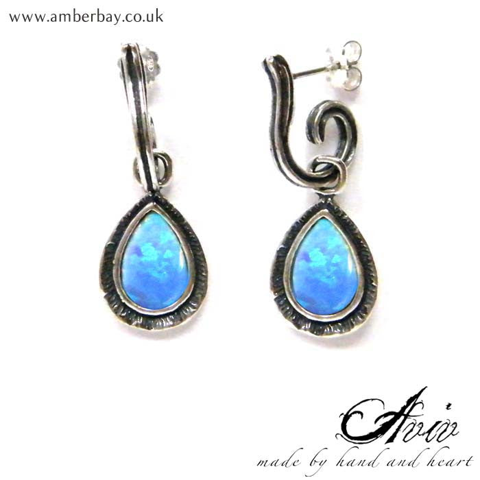 Aviv Sterling Silver Opal Drop Earrings at Amber Bay