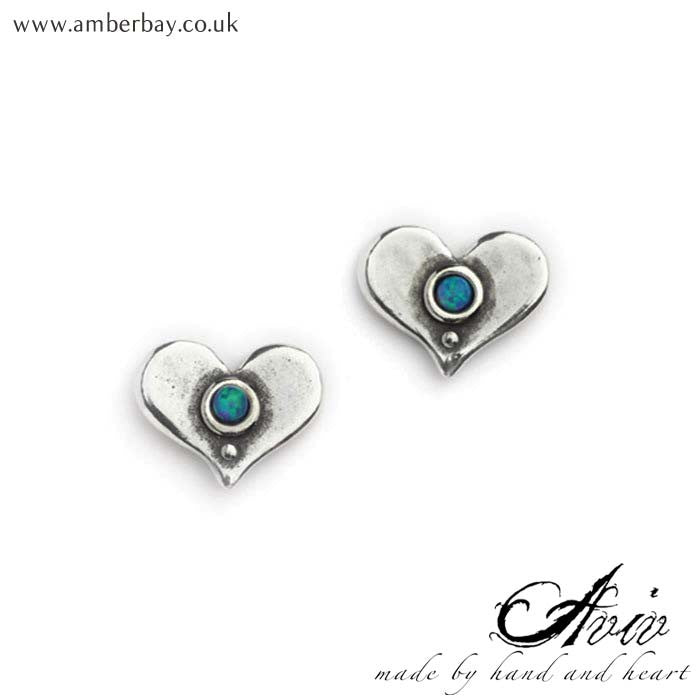 Aviv Sterling Silver and Opal Heart Ear Studs at Amber Bay