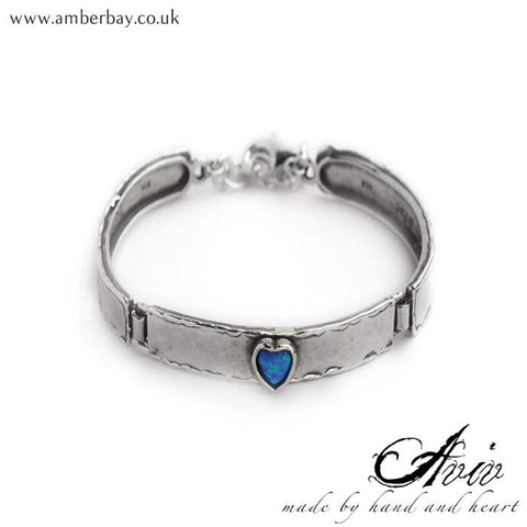 Aviv Sterling Silver and Opal Heart Bangle at Amber Bay