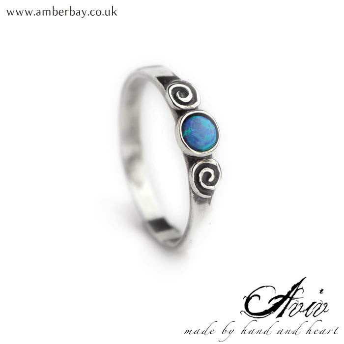 Aviv Sterling Silver Round Swirl Opal Ring at Amber Bay