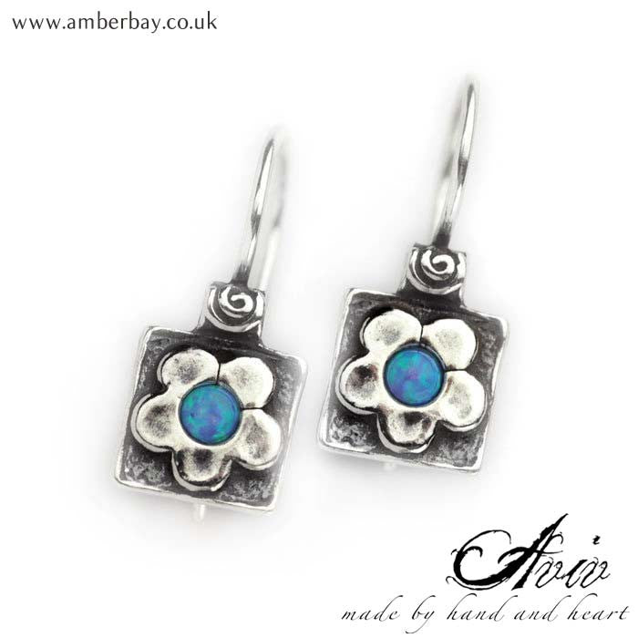 Aviv Sterling Silver Opal Flower Drop Earrings at Amber Bay