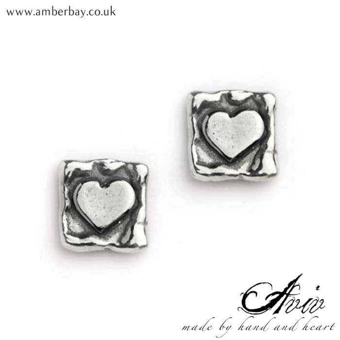 Aviv Sterling Silver Heart on Square Ear Studs at Amber Bay