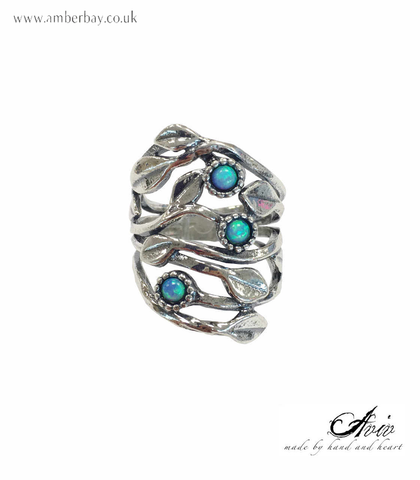 Aviv Sterling Silver and Opal Leaves and Daisy Ring