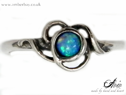 Aviv Sterling Silver and Opal Twist Ring