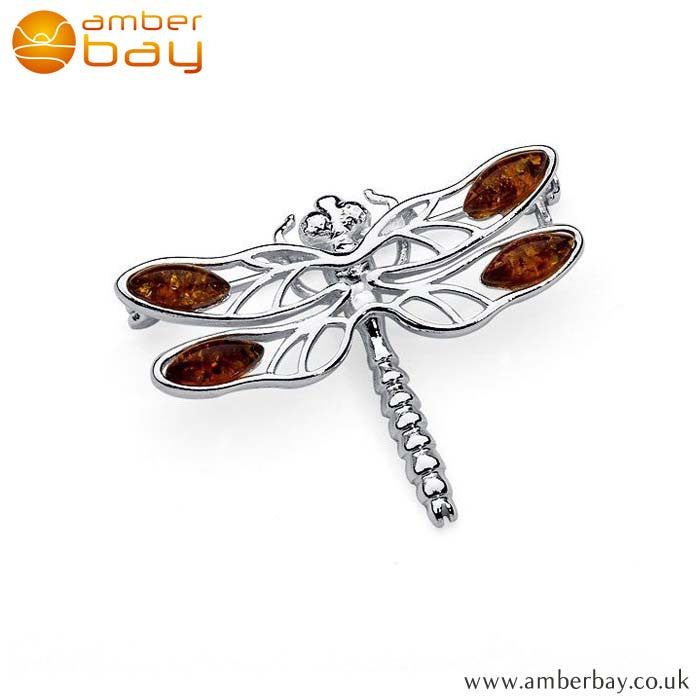 Silver and Cognac Amber Dragonfly Brooch BCH202 at Amber Bay