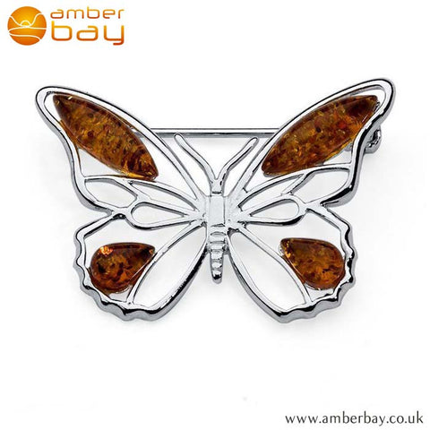 Silver and Cognac Amber Butterfly Brooch BCH203 at Amber Bay