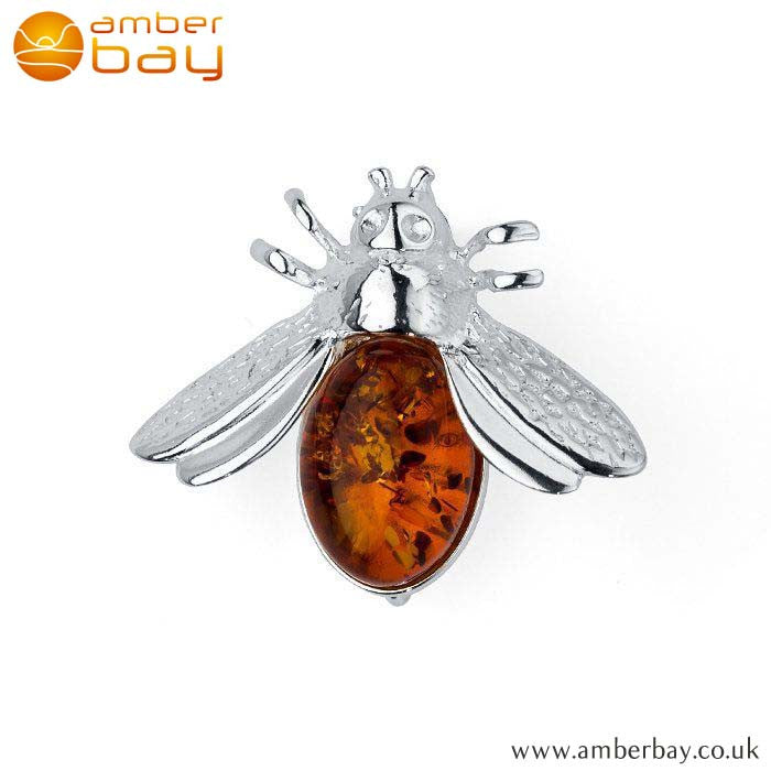Silver and Cognac Amber Bee Brooch BCH205 at Amber Bay