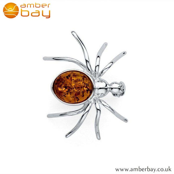 Silver and Cognac Amber Spider Brooch BCH207 at Amber Bay