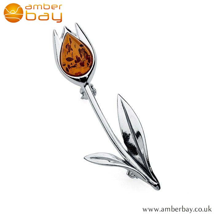 Silver and Cognac Amber Flower Brooch at Amber Bay