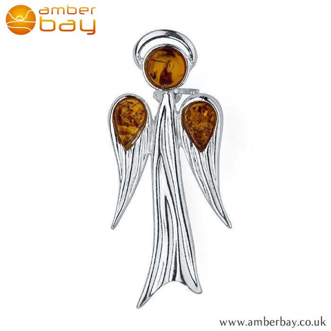 Silver and Cognac Amber Guardian Angel Brooch BCH 216 at Amber Bay