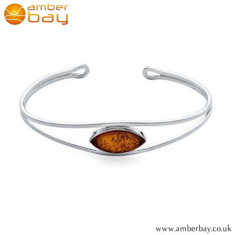 Silver and Amber Bangle BN201 at Amber Bay
