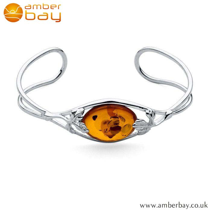 Silver and Amber Decorative Bangle BN205 at Amber Bay