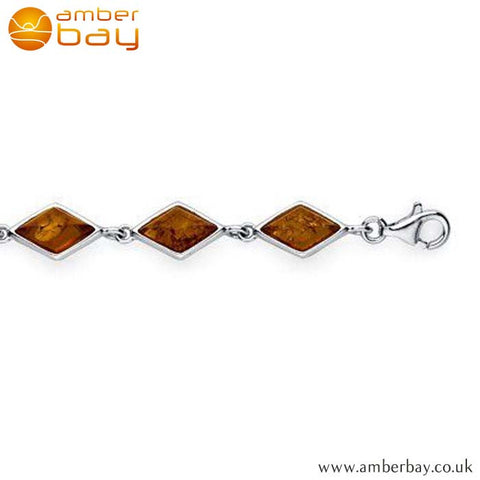 Silver and Amber Triangular Bracelet BR207 at Amber Bay