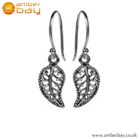 Sterling Silver Leaf Shaped Drop Earrings E1237SIL at Amber Bay