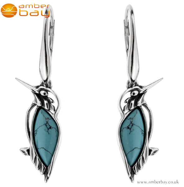 Sterling Silver and Turquoise Kingfisher Drop Earrings
