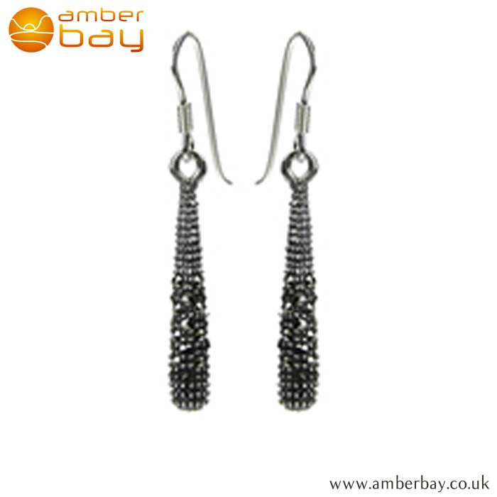 Sterling Silver and Marcasite Drop Earrings E842MR at Amber Bay